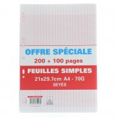 Copies simples 300P A4 Séyès Perforées