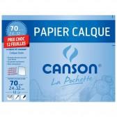 Papier calque CANSON 12 feuilles 24x32cm 70g