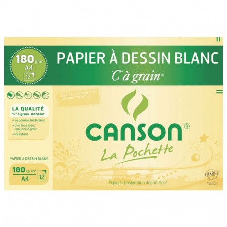 Carta da disegno bianco C a grana CANSON 12 fogli A4 180g