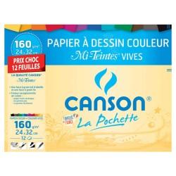 CANSON dibujos de papel vivos colores 12 hojas 24x32cm 160g