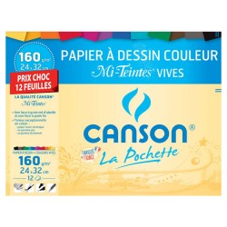 CANSON drawing paper vivid colors 12 sheets 24x32cm 160g