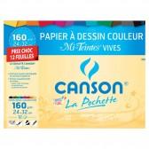 Papier à dessin CANSON Couleurs Vives 12 feuilles 24x32cm 160g