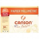 Papier millimétré CANSON 12 feuilles A4 90g