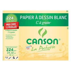 Drawing paper white C to grain CANSON 12 sheets 24x32cm cacao 224g