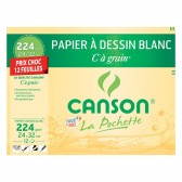 Papel de dibujo blanco C a grano CANSON 12 hojas 24x32cm 180g