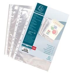 Sachet 100 pochettes perforées EXACOMPTA A4 polypropylène Grainé 4/10