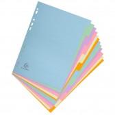 Intercapas de tarjeta fuerte color pastel A4 de 12 posiciones