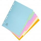 Intercalaires EXACOMPTA carte forte A4 6 positions couleur pastel