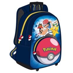 Sac à dos à roulettes Pokemon Sacha 43 CM Haut de gamme