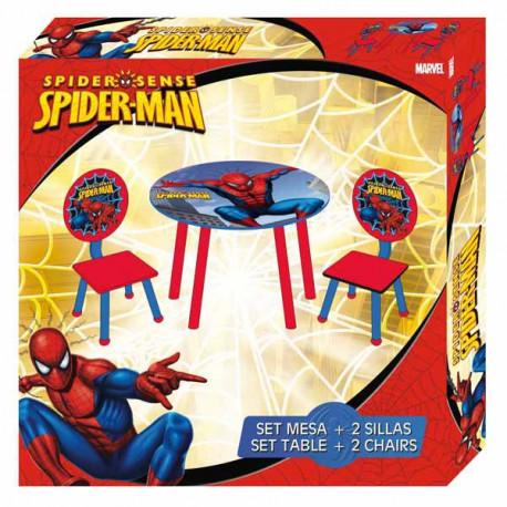 Gedeckter Tisch + 2 Stühle Spiderman
