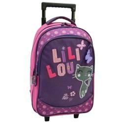 Sac à dos à roulettes Lililou le chat 45 CM Trolley prune Haut de gamme - Cartable