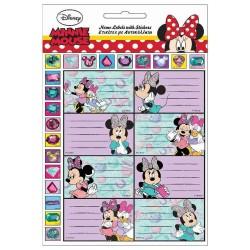 Lot de 8 étiquettes brillantes Minnie