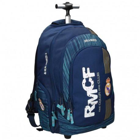 Sac à dos à roulettes Real Madrid Color 45 CM Haut de gamme - 2 cpt - Cartable Trolley