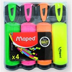 Pocket van 4 markeerstiften MAPED Fluo'Peps