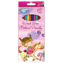 Pocket of 12 plastic colored pencils LICORNE