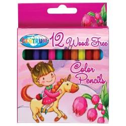 Pocket of 12 small plastic colored pencils LICORNE