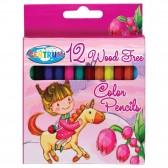 Tasche mit 12 kleinen Kunststoff-Buntstiften LICORNE