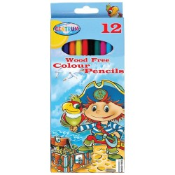 Pocket of 12 pirate plastic colored pencils