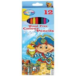 Tasca di 12 matite colorate in plastica pirata