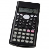 Small black primary calculator with plastic hood