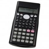 Pequeña calculadora primaria negra con capucha de plástico