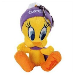 Keyring Tweety plush purple bonnet