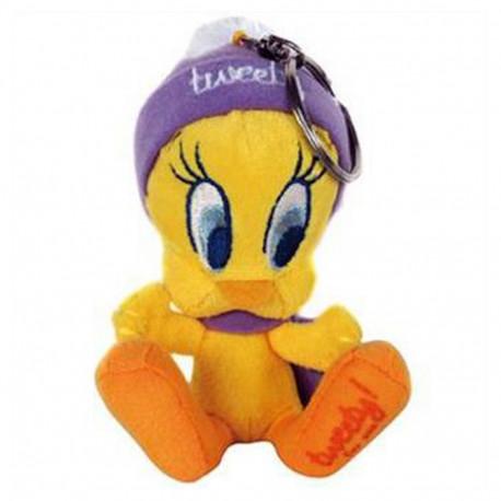 Keyring Tweety plush purple bonnet