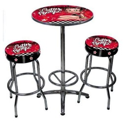 Ensemble table + 2 tabourets bar Betty Boop