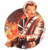 Johnny Hallyday wooden clock