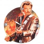 Johnny Hallyday wooden clock