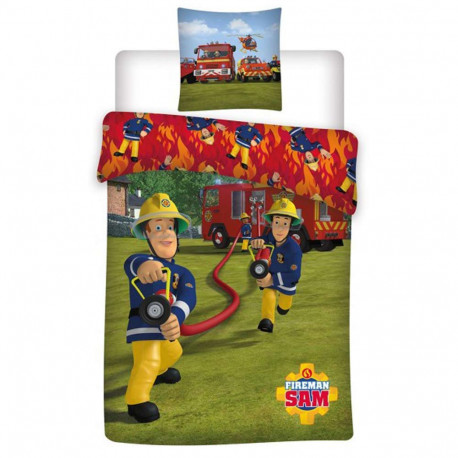 Parure housse de couette sam le pompier 140x200 cm et taie - Housse de couette sam le pompier ...