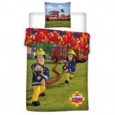 Parure housse de couette Sam le Pompier 140x200 cm et Taie d'oreiller