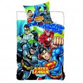 Parure housse de couette Justice League DC Comics 140x200 cm et Taie d'oreiller
