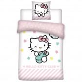 Parure housse de couette Hello Kitty 140x200 cm et Taie d'oreiller