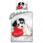 Parure housse de couette coton Sweet Dog St Valentin 140x200 cm et Taie d'oreiller