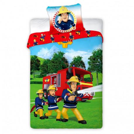 Parure housse de couette coton sam le pompier 140x200 cm - Housse de couette sam le pompier ...