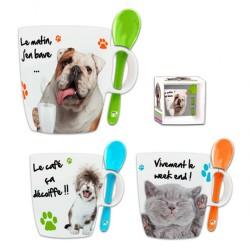 Taza Cuchara Amigos Perros y Gatos