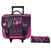 Cartable à roulettes Lililou Chat Prune 38 CM + Trousse