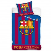 Parure housse de couette coton FC Barcelone 140x200 cm et Taie d'oreiller - Brille dans le noir