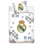 Parure housse de couette coton Real Madrid 140x200 cm et Taie d'oreiller