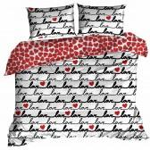 Parure de lit Love en coton 220x200 cm et Taies d'oreiller