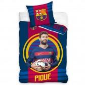 Parure housse de couette coton FC Barcelone Piqué 140x200 cm et Taie d'oreiller