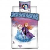 Parure housse de couette polyester Reine des neiges 2 140x200 cm et Taie d'oreiller - Frozen
