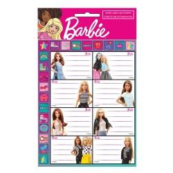 Lot de 16 étiquettes Barbie avec Stickers