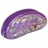 Trousse ovale fantaisie Violette 20 CM Pailettes flottantes