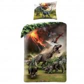Parure housse de couette coton Jurassic World 140x200 cm et Taie d'oreiller