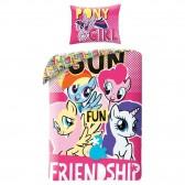 Baumwoll-Bettbezug Mein Kleines Pony 140x200 cm und Kissenbezug