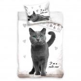 Baumwoll-Bettbezug Katze 140x200 cm und Kissenbezug