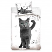 Cotton duvet cover Cat 140x200 cm and Pillow Taie