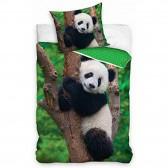 Parure housse de couette coton Panda 140x200 cm et Taie d'oreiller